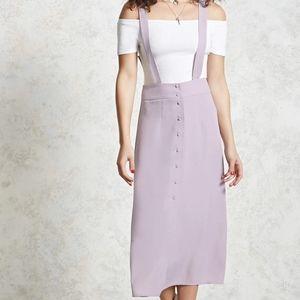 Lilac Button Up Overall Skirt Dress